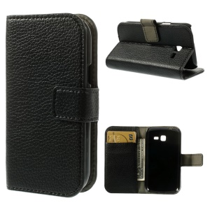 Litchi Texture Magnetic Leather Wallet Stand Case for Samsung Galaxy Trend Lite S7390 S7392 - Black