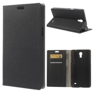 Black Sand-like Texture Leather Wallet Stand Case for Samsung Galaxy Mega 2 SM-G750H