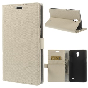 Cloth Texture Leather Wallet Stand Cover for Samsung Galaxy Mega 2 SM-G750H - Beige