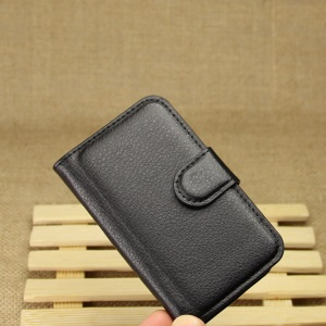 Litchi Textured Leather Wallet Bracket Cover for Samsung Galaxy Pocket Neo S5310 S5312 - Black
