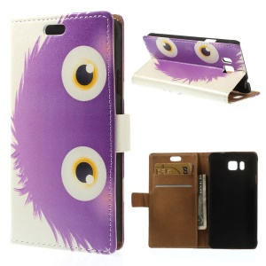 Purple Hairy Doll Pattern Wallet Leather Shell for Samsung Galaxy Alpha SM-G850F SM-G850A