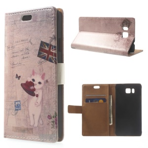 Cute Cat & Retro UK Flag Leather Stand Case for Samsung Galaxy Alpha SM-G850F SM-G850A