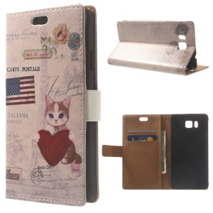 Cat Holding Heart & American Flag Leather Wallet Case for Samsung Galaxy Alpha SM-G850F SM-G850A