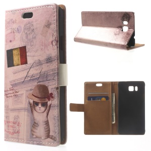For Samsung Galaxy Alpha Wearing Hat Cat & Belgium Flag Magnetic Leather Case
