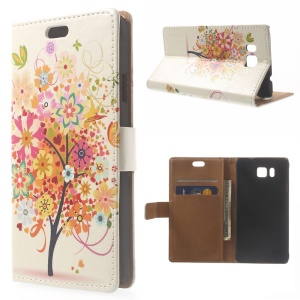 Illustration Pattern Leather Wallet Case for Samsung Galaxy Alpha SM-G850F SM-G850A - Colorful Flower Tree