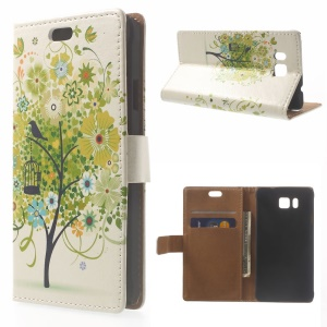 Illustration Pattern Leather Case Card Holder for Samsung Galaxy Alpha SM-G850F SM-G850A - Green Flower Tree