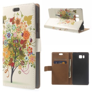 Illustration Pattern Leather Case Card Holder for Samsung Galaxy Alpha SM-G850F SM-G850A - Colorized Fruit Tree