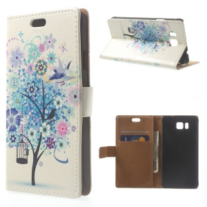 Illustration Pattern Leather Wallet Cover for Samsung Galaxy Alpha SM-G850F SM-G850A - Blue Flower Tree