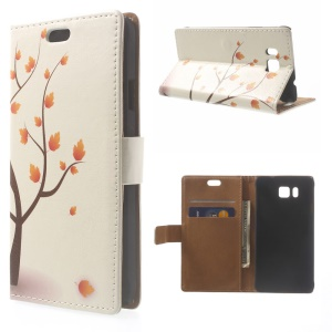 Illustration Pattern Leather Wallet Case for Samsung Galaxy Alpha SM-G850F SM-G850A - Maple Autumn Tree