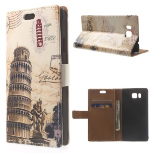 Leaning Tower of Pisa & Acient Map Leather Stand Case for Samsung Galaxy Alpha SM-G850F SM-G850A