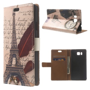 Eiffel Tower & Quill Leather Protective Shell for Samsung Galaxy Alpha SM-G850F SM-G850A