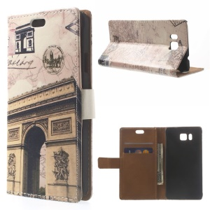 Triumphal Arch & Map Leather Protective Case for Samsung Galaxy Alpha SM-G850F SM-G850A