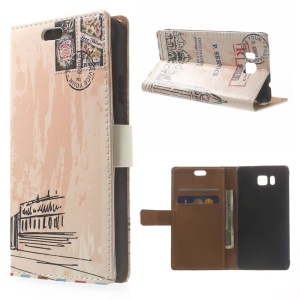 Postmark & London Big Ben Wallet Leather Case for Samsung Galaxy Alpha SM-G850F SM-G850A