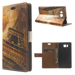 Eiffel Tower & Mapple Leaves Leather Case Stand for Samsung Galaxy Alpha SM-G850F SM-G850A