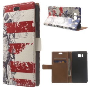 Statue of Liberty & US Flag Wallet Leather Case for Samsung Galaxy Alpha SM-G850F SM-G850A