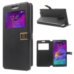 Oracle Grain Window View Leather Flip Case for Samsung Galaxy Note 4 N910 - Black
