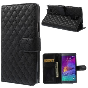 Black Rhombus Leather Wallet Stand Case for Samsung Galaxy Note 4 N910