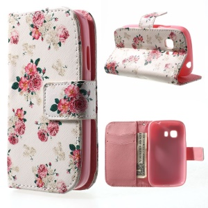 Folio Leather Wallet Case for Samsung Galaxy Young 2 SM-G130 - Elegant Flower