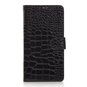 Black for Samsung Galaxy Note 4 N910 Glossy Crocodile Leather Stand Wallet Cover