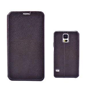 ZVE Genuine Cowhide Leather Stand Case for Samsung Galaxy S5 G900 w/ Card Slots - Black