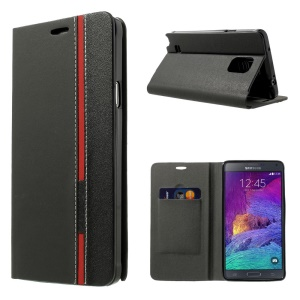 Contrasting Color Leather Card Holder Case for Samsung Galaxy Note 4 N910 - Black