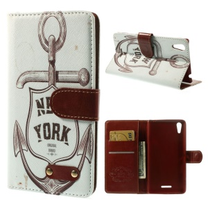 New York & Anchor Wallet Leather Stand Case for Sony Xperia T3 D5102 D5103 D5106