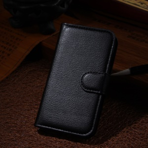 Lychee Leather Wallet Stand Case for Samsung Galaxy Ace NXT G313H - Black