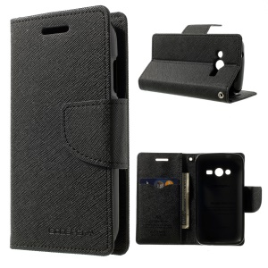 Mercury Fancy Diary Leather Stand Case for Samsung Galaxy Ace NXT G313H - Black