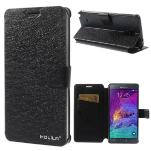 HOLILA Silk Texture PU Leather Stand Case for Samsung Galaxy Note 4 N910 - Black