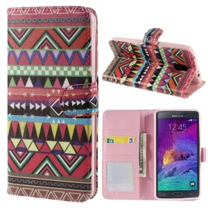 For Samsung Galaxy Note 4 N910 Tribal Colored Triangles Wallet Stand Leather Skin Case