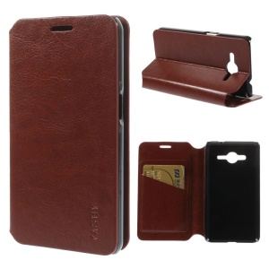 Crazy Horse Stand Leather Skin Case for Samsung Galaxy Core 2 G355H - Brown