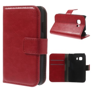 For Samsung Galaxy Young 2 SM-G130 Crazy Horse Folio Stand PU Leather Wallet Case - Red