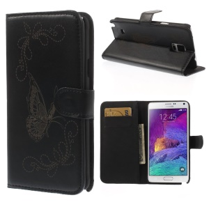 Laser Carving Butterfly Wallet Leather Stand Case for Samsung Galaxy Note 4 N910 N910S - Black