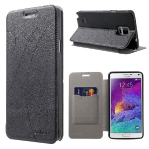 Lines Sand-like Texture PU Leather Stand Case w/ Card Slots for Samsung Galaxy Note 4 N910 - Black