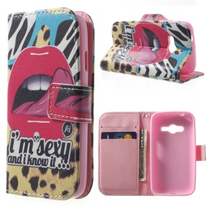 Magnetic Wallet PU Leather Stand Cover for Samsung Galaxy Ace NXT G313H - Sexy Red Lips