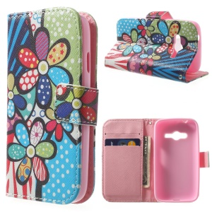 For Samsung Galaxy Ace NXT G313H Wallet Stand PU Leather Skin Case - Cartoon Flowers