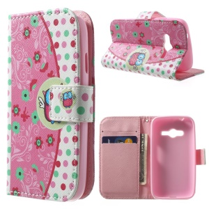 For Samsung Galaxy Ace NXT G313H Stand PU Leather Wallet Case - Flower & Owl & Dots