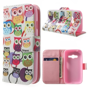 Magnetic Stand Leather Wallet Shell for Samsung Galaxy Ace NXT G313H - Multiple Owls