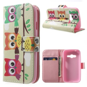 Protective Wallet Stand Leather Case for Samsung Galaxy Ace NXT G313H - Three Cute Owls