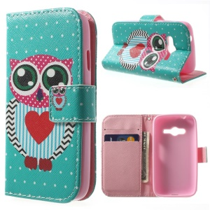 Protective Wallet PU Leather Stand Case for Samsung Galaxy Ace NXT G313H - Love Heart Owl
