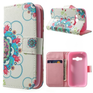 For Samsung Galaxy Ace NXT G313H Wallet Stand PU Leather Cover - Butterflies on Blue Flower