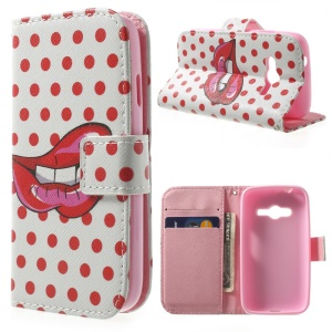 Wallet Stand PU Leather Phone Case for Samsung Galaxy Ace NXT G313H - Sexy Red Lips & Dots