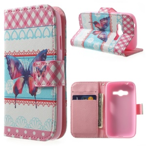 Magnetic PU Leather Stand Wallet Case for Samsung Galaxy Ace NXT G313H - Butterfly & Hearts