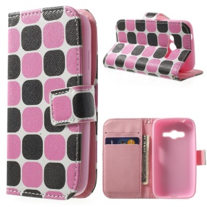 For Samsung Galaxy Ace NXT G313H Stand Leather Wallet Case - Black & Pink Checks