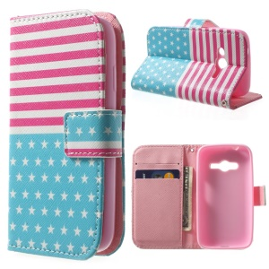 For Samsung Galaxy Ace NXT G313H Stand Wallet PU Leather Case - Stars & Stripes