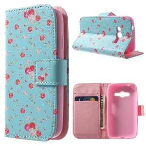 For Samsung Galaxy Ace NXT G313H Wallet Stand PU Leather Protective Case - Pretty Floret