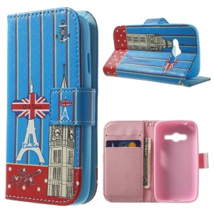 Magnetic Wallet Leather Case for Samsung Galaxy Ace NXT G313H - Eiffel Tower & London Big Ben