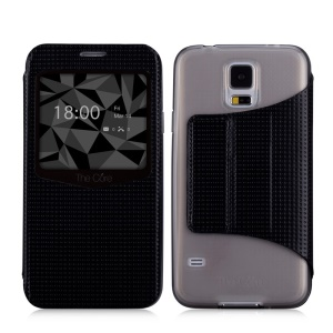 MOMAX Dream Mesh View Window Leather Stand Case for Samsung Galaxy S5 G900 - Black