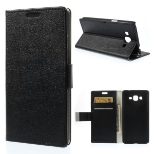 Lychee PU Leather Wallet Case w/ Stand for Samsung Galaxy Grand Prime SM-G530H - Black