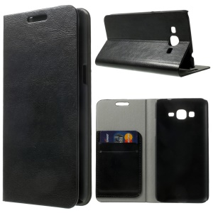 Crazy Horse Card Slots Leather Stand Case for Samsung Galaxy Grand Prime G530H - Black